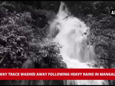 Watch: Railway track washed away following heavy rains in Mangaluru