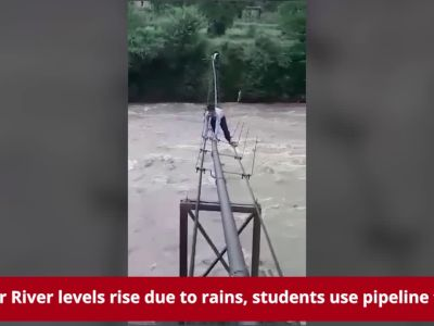 Watch: Students risk lives to cross overflowing Ghaggar river