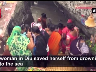 Watch: Woman saves herself from drowning in Diu