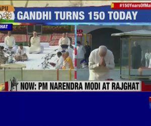 Gandhi Jayanti: PM pays tribute to Mahatma at Raj Ghat